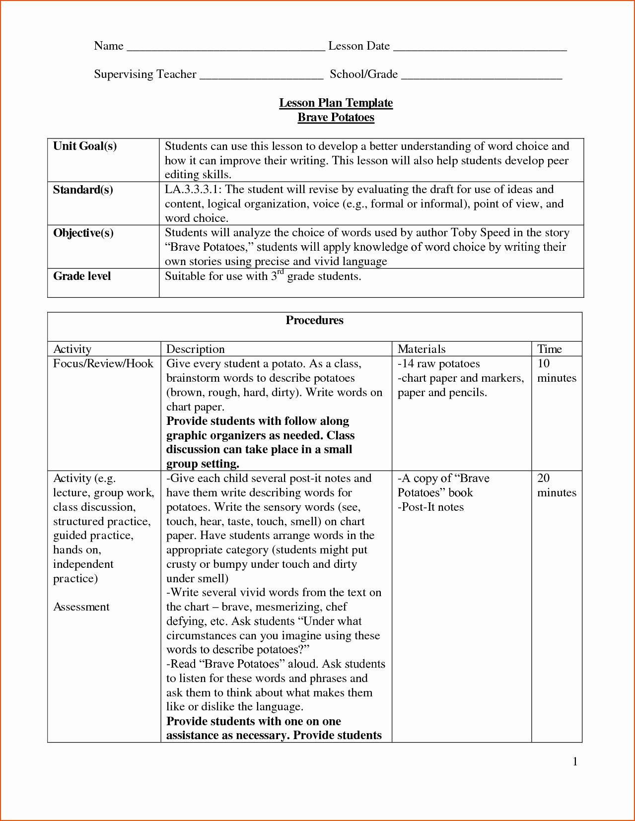 Lesson Plan Template Doc Elegant 8 Lesson Plan Template Doc Bookletemplate