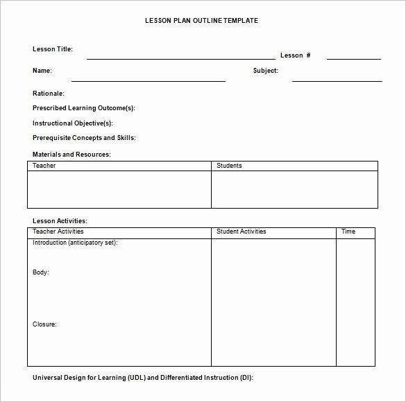 Lesson Plan Template Doc Fresh 9 Lesson Plan Outline Templates Doc Pdf