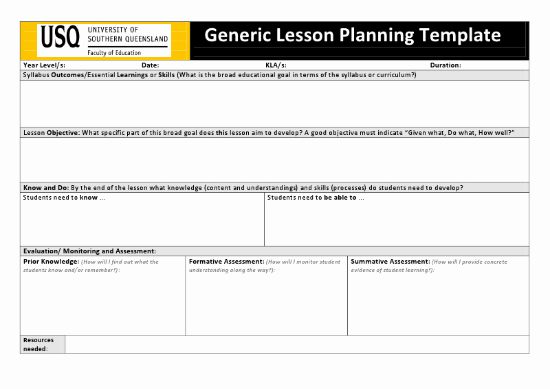Lesson Plan Template Doc Fresh Usq Generic Lesson Planning Templatec Art Lesson Planning Pinterest