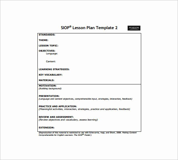 Lesson Plan Template Doc Inspirational 10 Siop Lesson Plan Templates Doc Excel Pdf