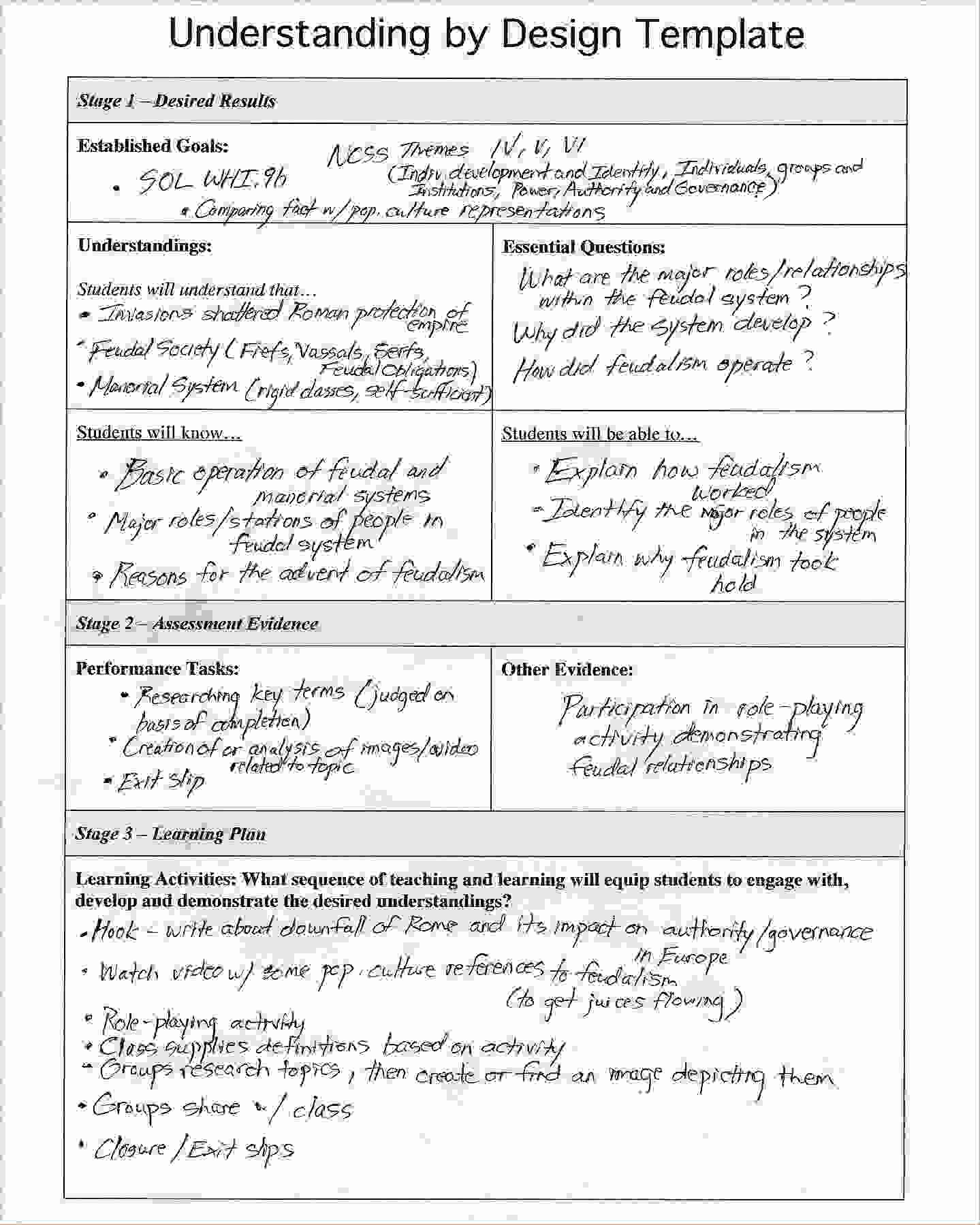 Lesson Plan Template Doc Luxury Understanding by Design Template