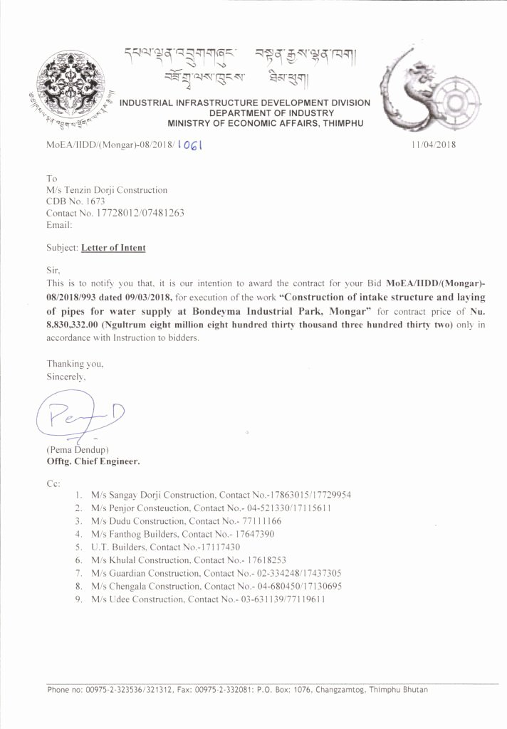 Letter Of Intent Construction Elegant Letter Of Intent for Construction Of Intake Structure and Laying Of Pipes for Water Supply at