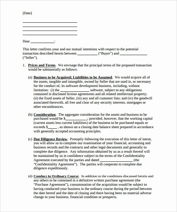 Letter Of Intent Pdf New 9 Purchase Letter Intent Free Word Pdf format Download