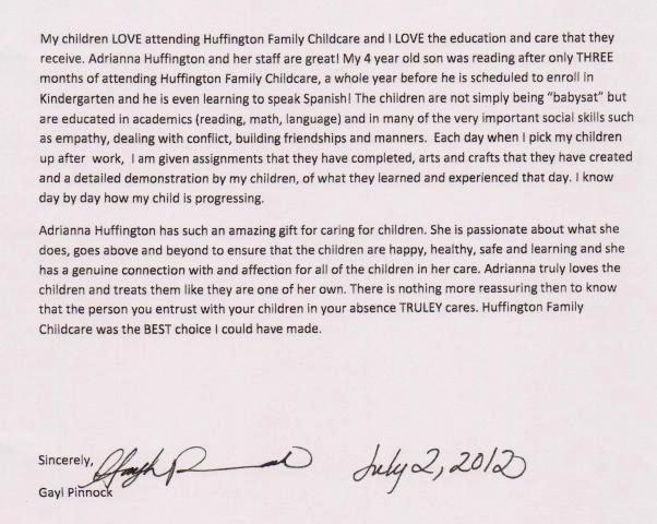 Letter Of Recommendation Child Care Best Of Huffington Child Care Referrals Testimonials
