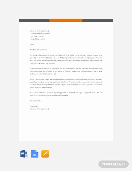 Letter Of Recommendation Child Care Inspirational 95 Free Letter Reference Templates