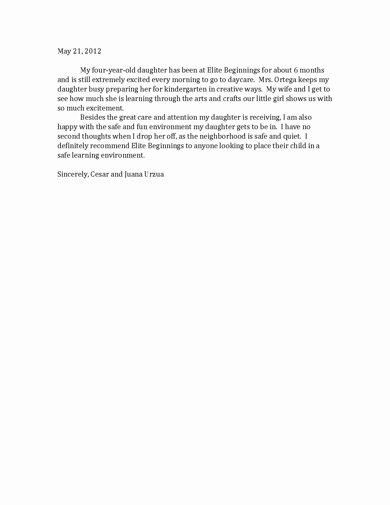 Letter Of Recommendation Child Care Lovely Child Care Letter Free Printable Documents