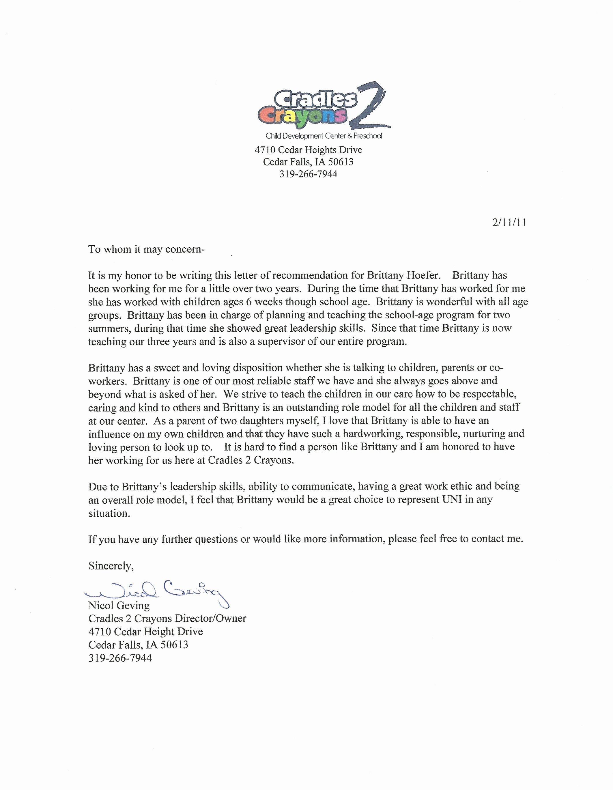 Letter Of Recommendation Child Care Lovely Daycare Director Nicol Geving Brittany Ann Hoefer