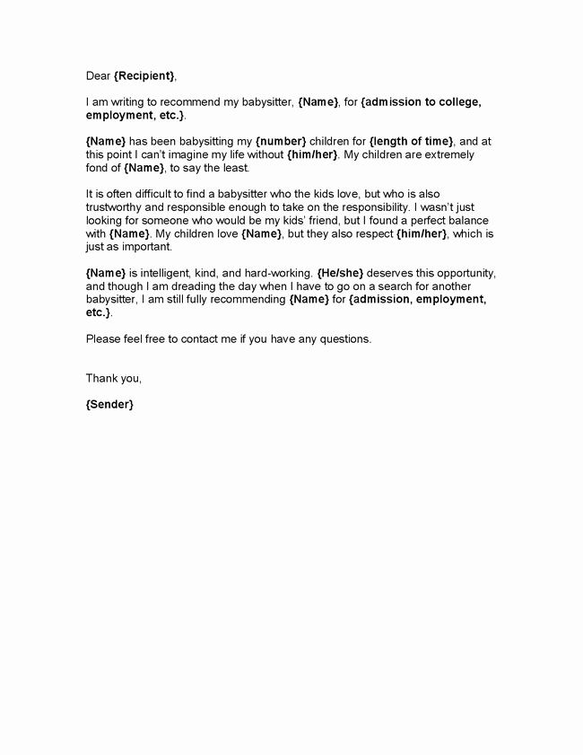 Letter Of Recommendation Child Care Luxury Nanny Letter Of Re Mendation Letter Of Re Mendation