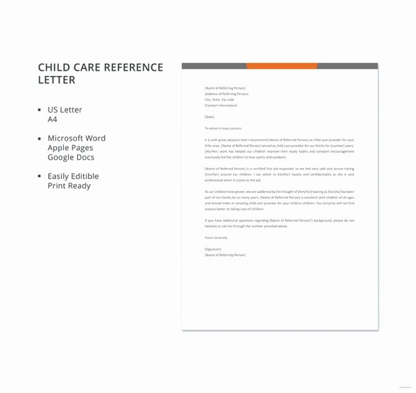 Letter Of Recommendation Child Care New 41 Sample Reference Letter Templates