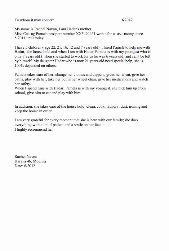 Letter Of Recommendation for Babysitter Elegant Nanny Re Mendation Letter