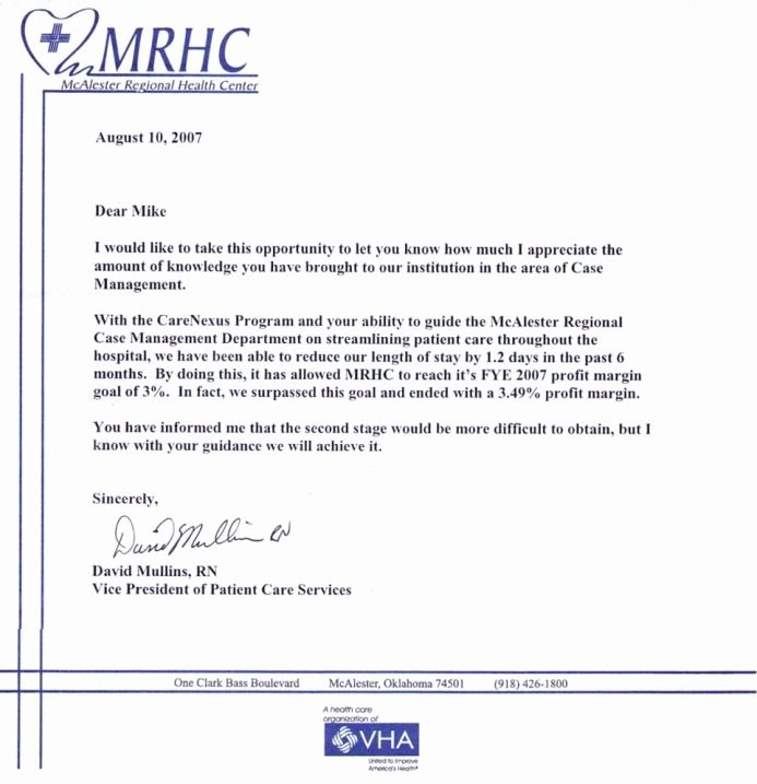 Letter Of Recommendation for Nursing Inspirational Testimonials Hospital Case Management Llc