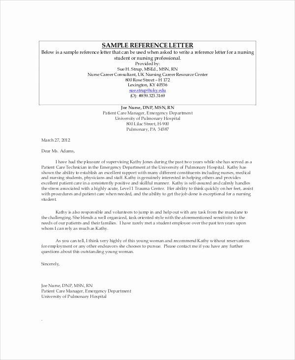 Letter Of Recommendation for Nursing Lovely Sample Nursing Re Mendation Letter 9 Examples In Word Pdf