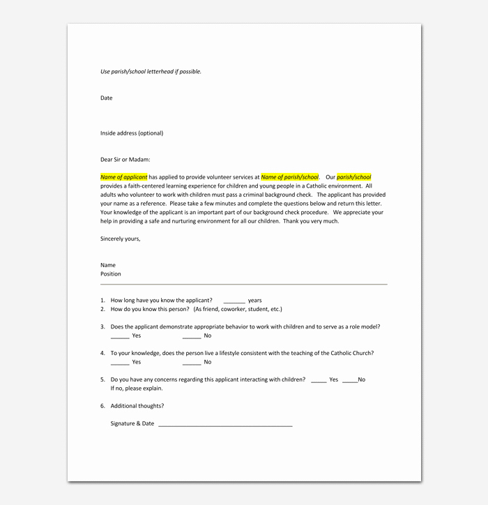 Letter Of Recommendation for Volunteer Beautiful Volunteer Reference Letter Samples & Examples