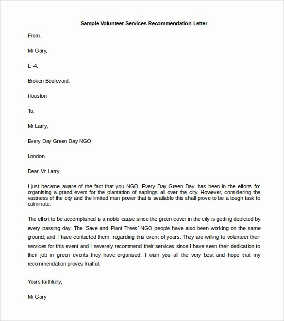 Letter Of Recommendation for Volunteer Unique 30 Re Mendation Letter Templates Pdf Doc