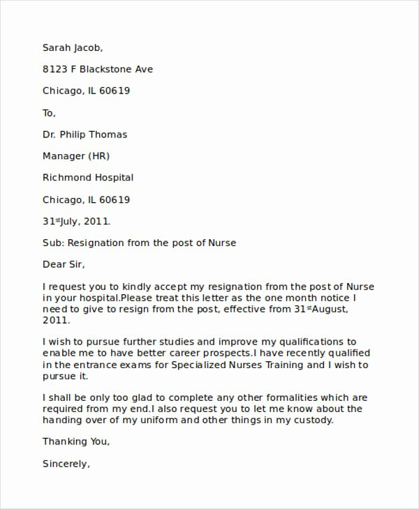 Letter Of Resignation Nursing Awesome Resignation Letter format for Staff Nurse