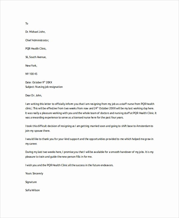 Letter Of Resignation Nursing Beautiful Resignation Letter Example 8 Samples In Pdf Word