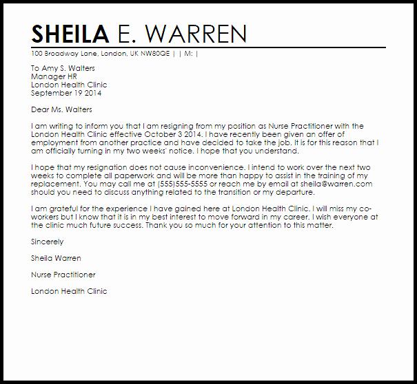 Letter Of Resignation Nursing Elegant Nurse Practitioner Resignation Letter Example