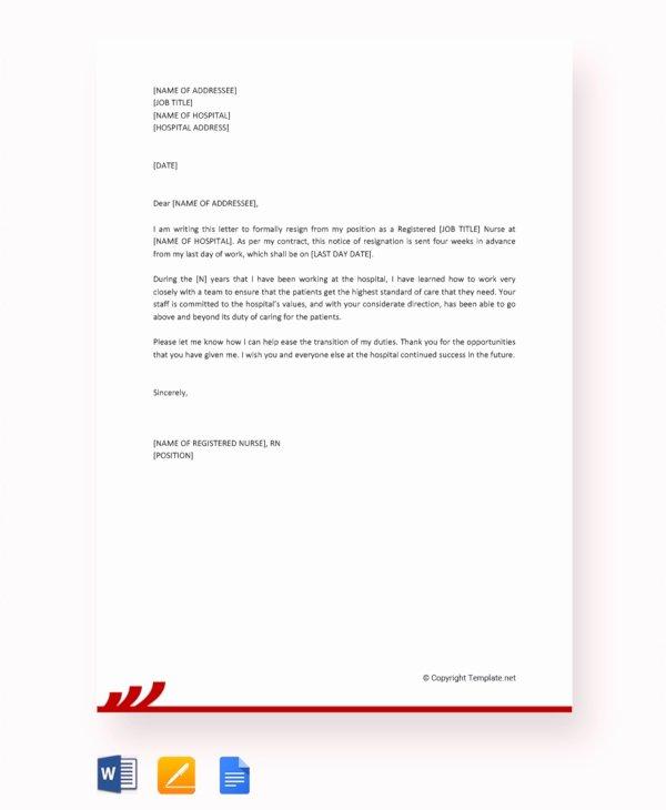 Letter Of Resignation Nursing Inspirational 14 Nurse Resignation Letter Templates Word Pdf