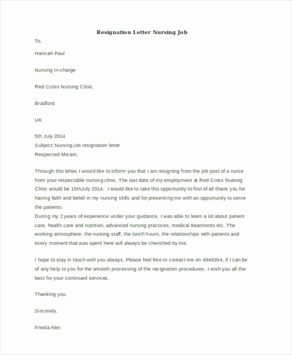 Letter Of Resignation Nursing Inspirational 40 Resignation Letter Example