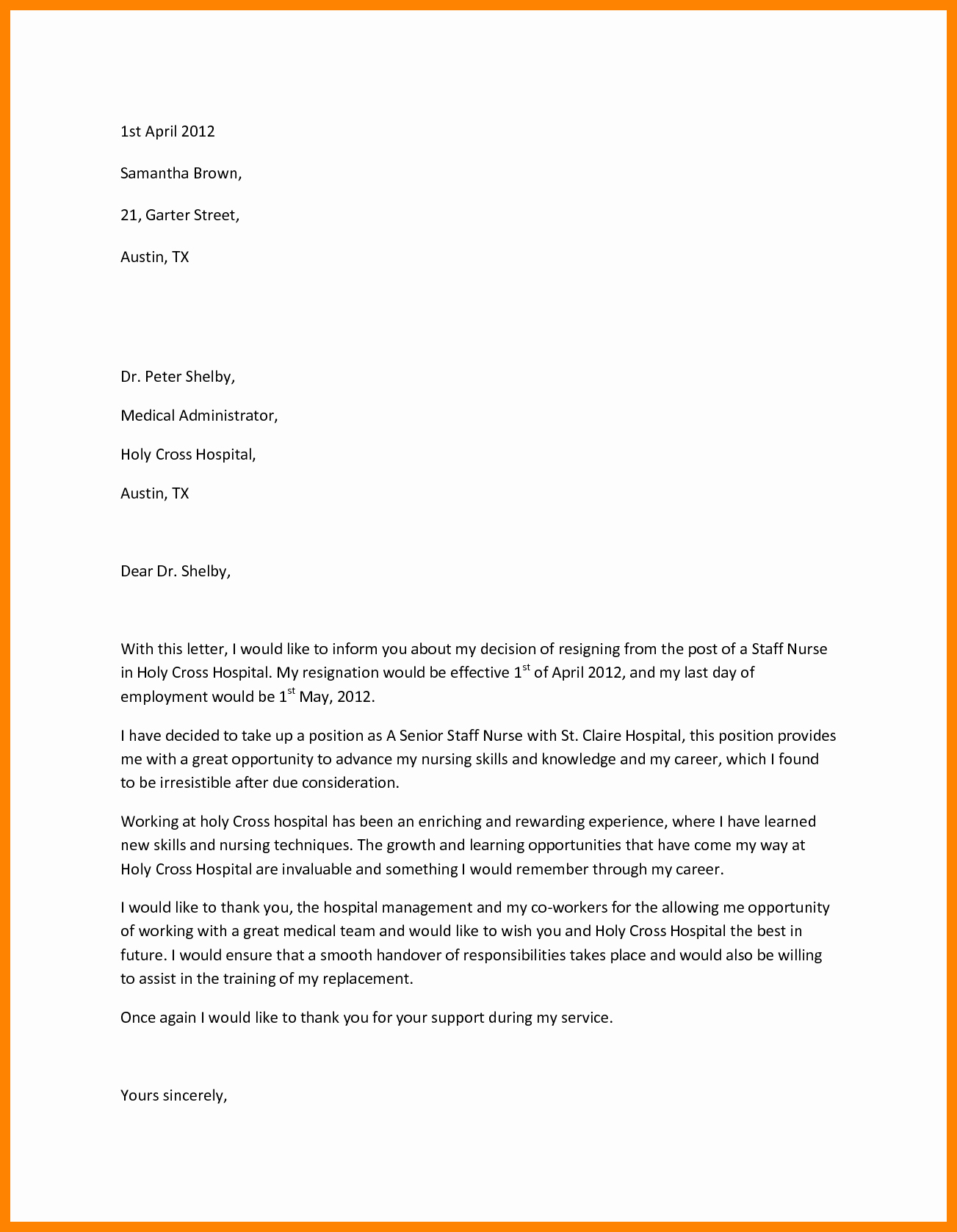 Letter Of Resignation Nursing New 10 Sample Registered Nurse Resignation Letter