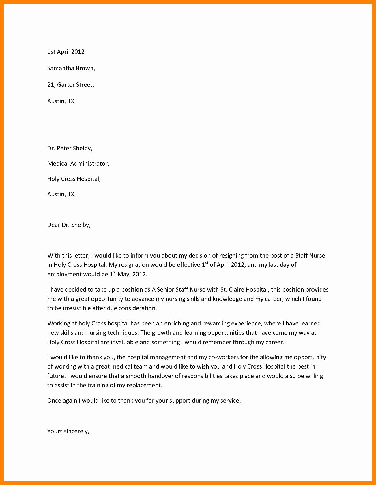 Letter Of Resignation Nursing New 10 Sample Registered Nurse Resignation Letter