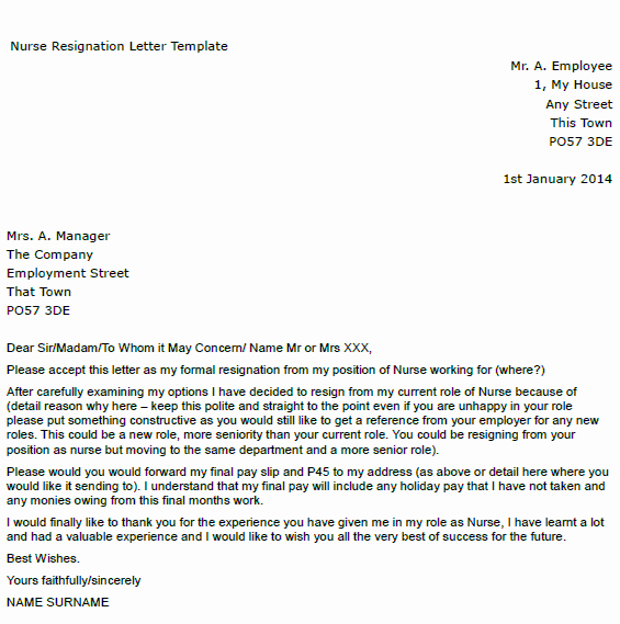 Letter Of Resignation Nursing New Nurse Resignation Letter Example toresign