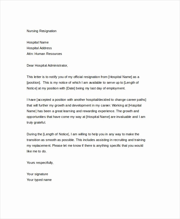 Letter Of Resignation Nursing New Resignation Letter 22 Free Word Pdf Documents Download