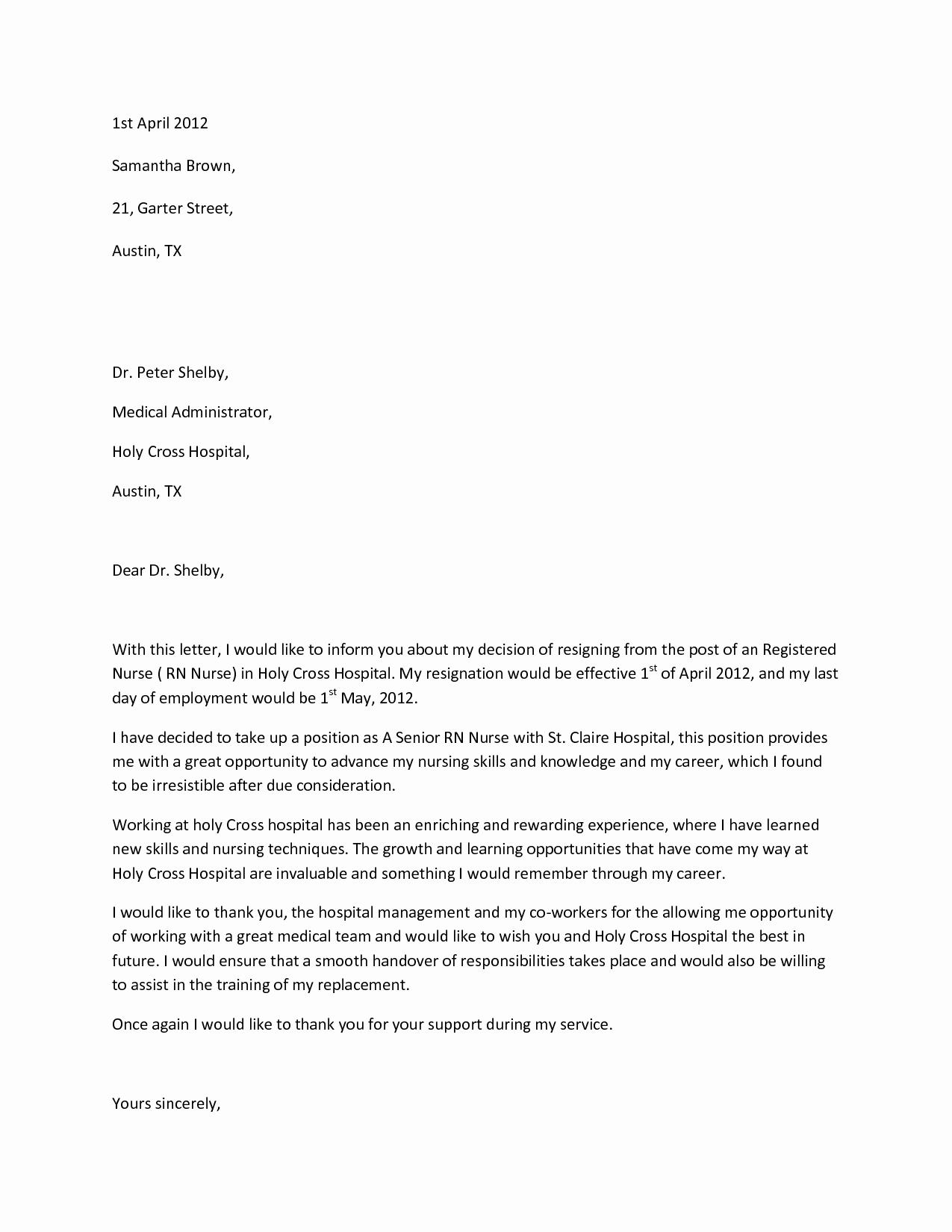Letter Of Resignation Nursing New Sample Resignation Letterwriting A Letter Resignation Email Letter Sample