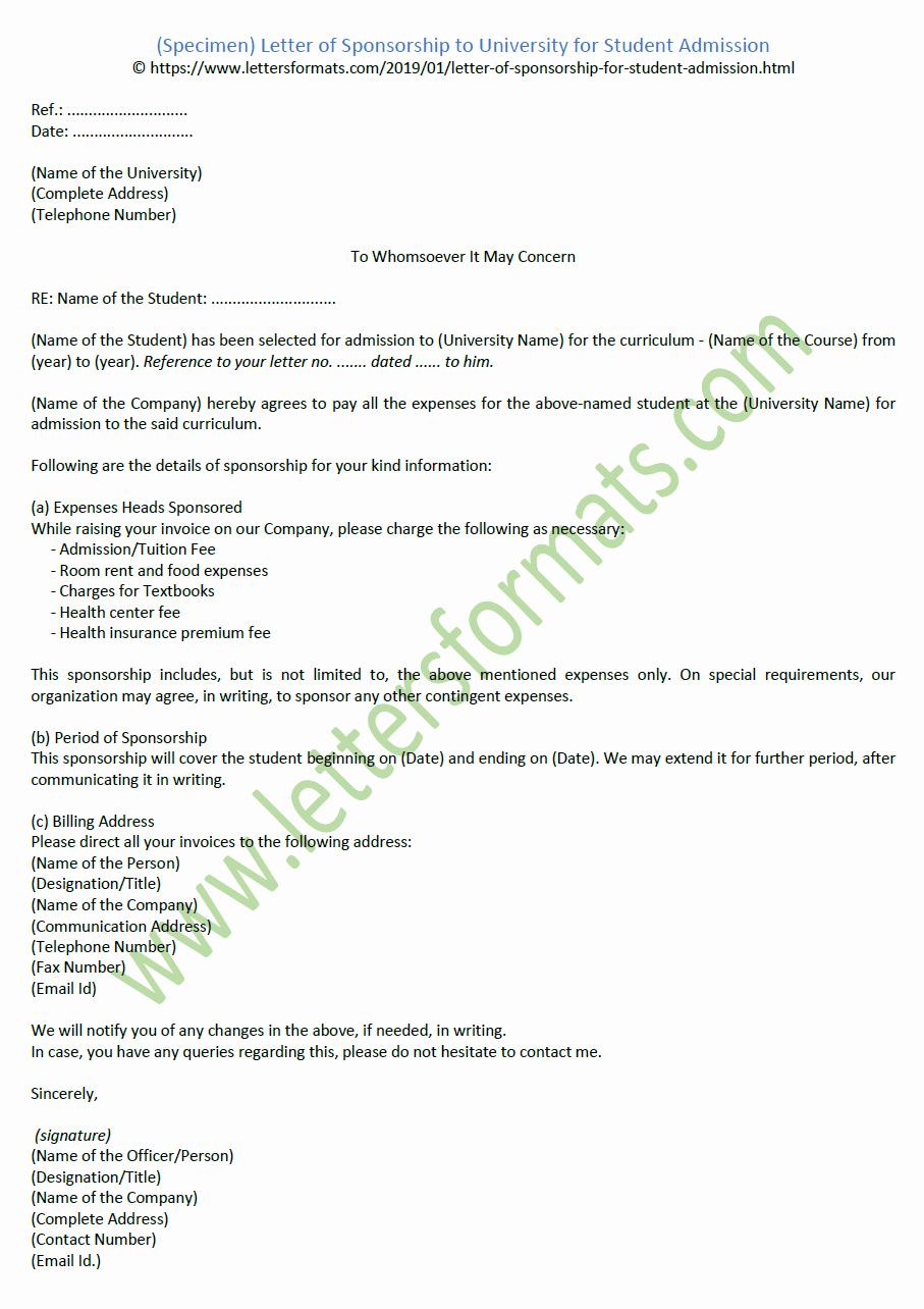 Letter Of Sponsorship for Student Beautiful Letter Of Sponsorship to University for Student Admission Sample