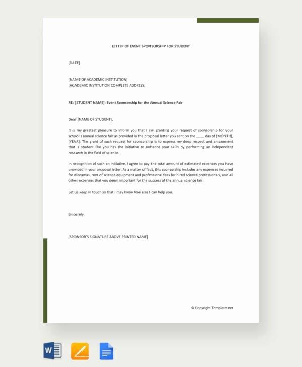 Letter Of Sponsorship for Student Best Of 12 Sample event Sponsorship Letters Pdf