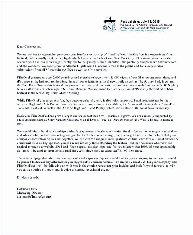 Letter Of Sponsorship for Student Fresh 14 Sponsorship Letter Template