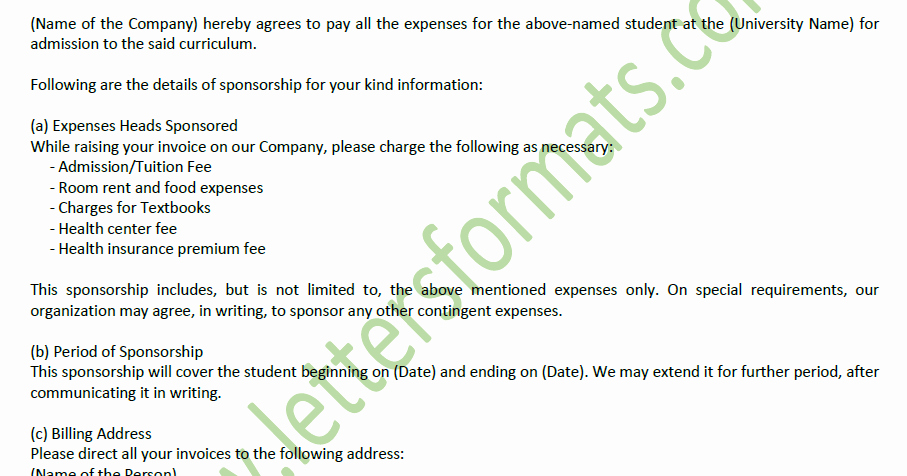 Letter Of Sponsorship for Student Lovely Letter Of Sponsorship to University for Student Admission Sample