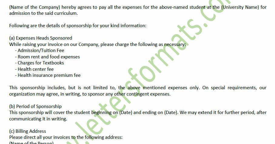 Letter Of Sponsorship for Student Lovely Letter Of Sponsorship to University for Student Admission Sample