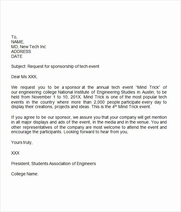 Letter Of Sponsorship for Student Lovely Sponsorship Letter 7 Free Download for Word