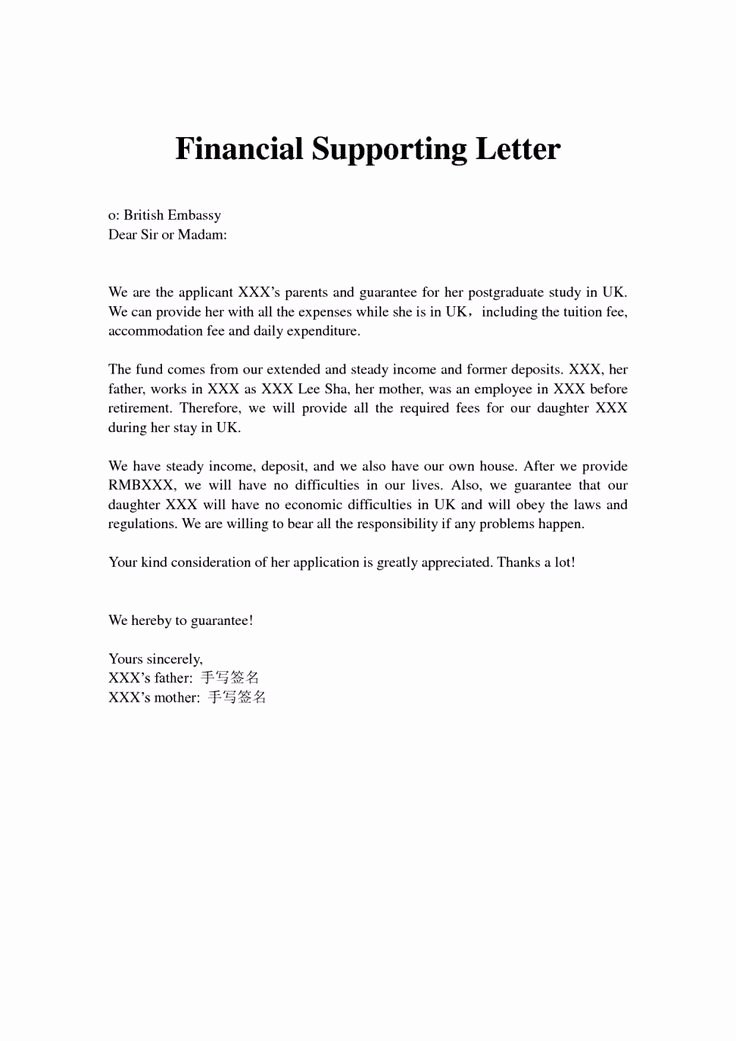 Letter Of Support format Beautiful Financial Support Letter From Parents Letter Sample