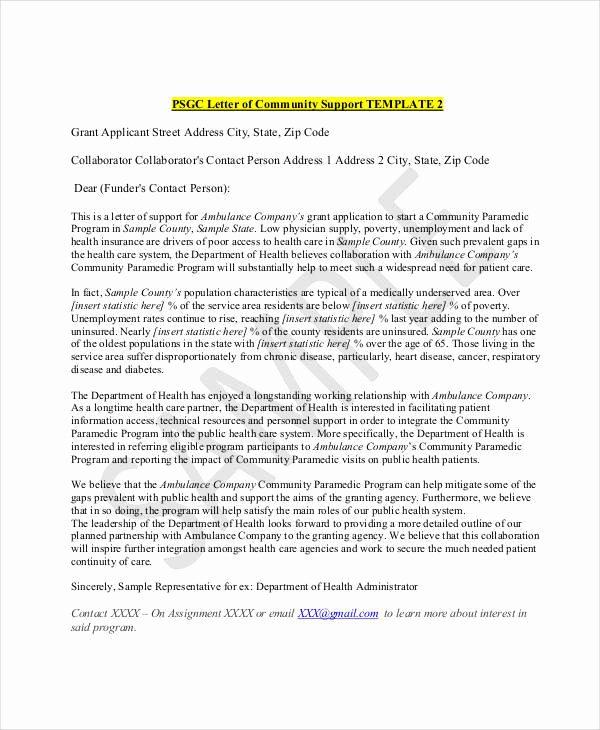Letter Of Support format Elegant 22 Letter Of Support Samples Pdf Doc