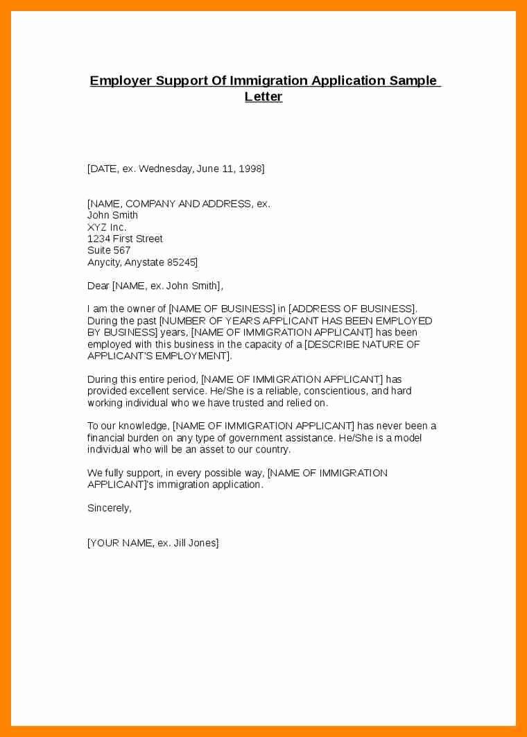 Letter Of Support format Elegant Letters Support for Immigration
