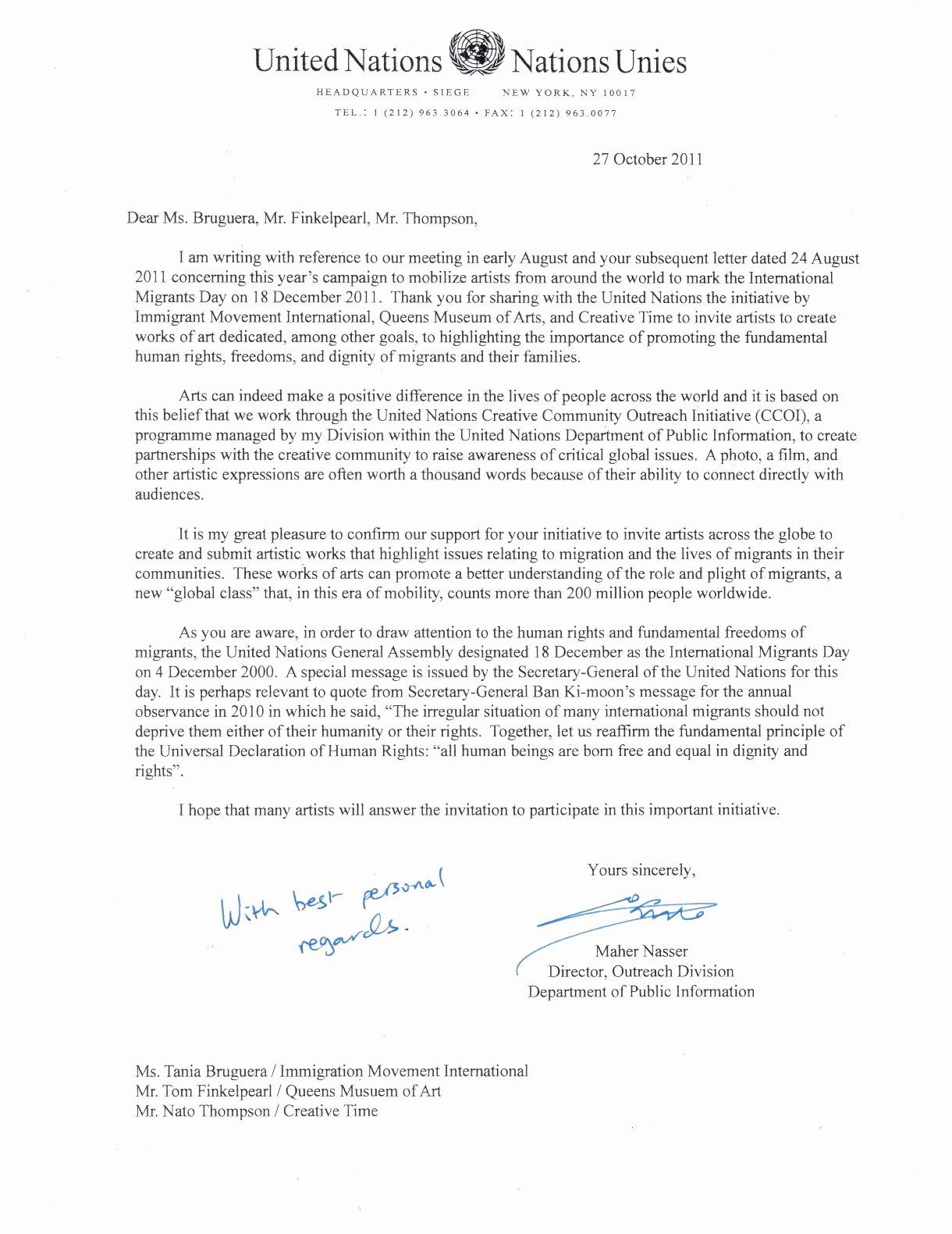 Letter Of Support format Elegant United Nations Ficial Letter Support for Dec Artist Ficial Letter Business Letter Sample