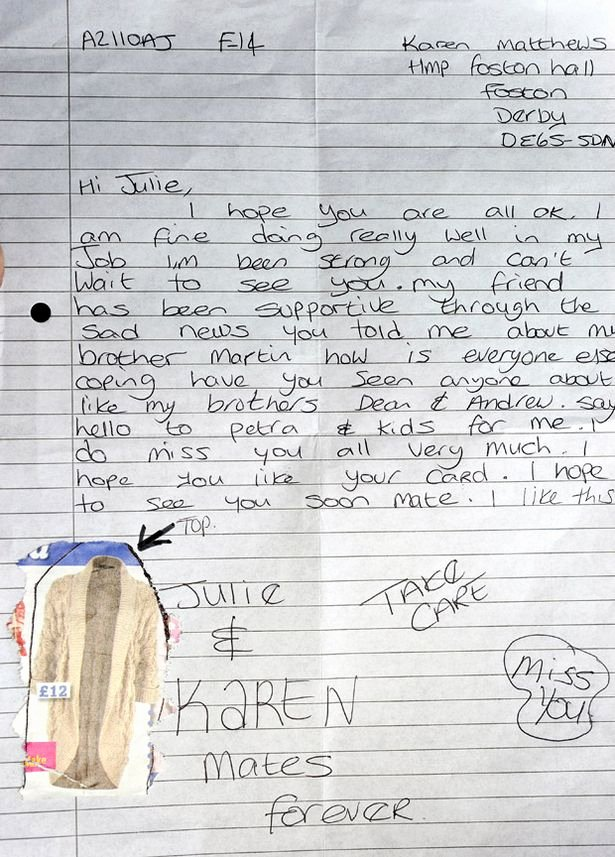 Letter to Boyfriend In Jail Luxury Karen Matthews Life Behind Bars Documented In Diary by Her Only Visitor Mirror Line