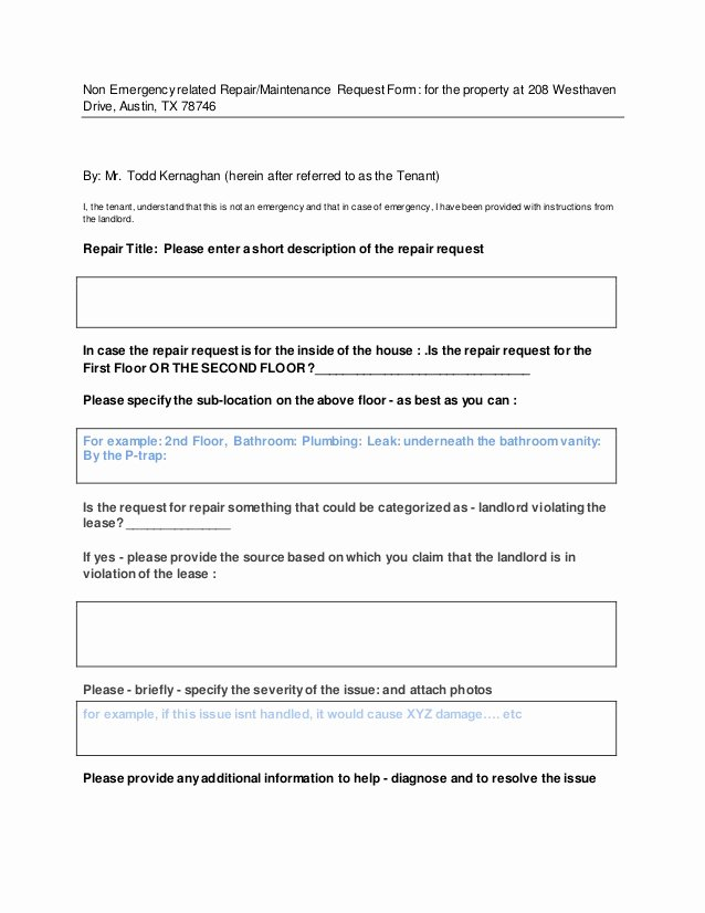 Letter to Landlord for Repairs Inspirational Repair Maintenance Request form for Tenant to Fill In This form Only …