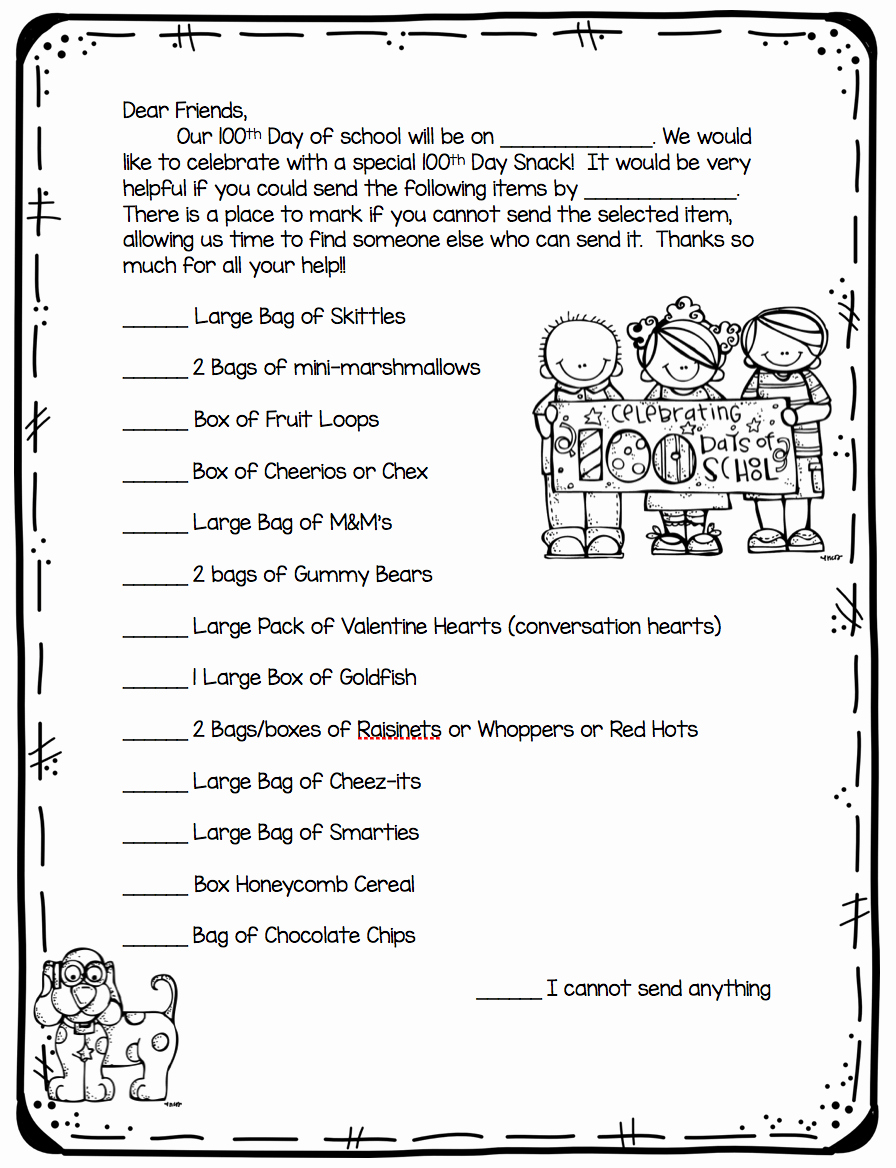 Letter to My Parents Awesome 100th Day Of School Ideas First Grade Blue Skies