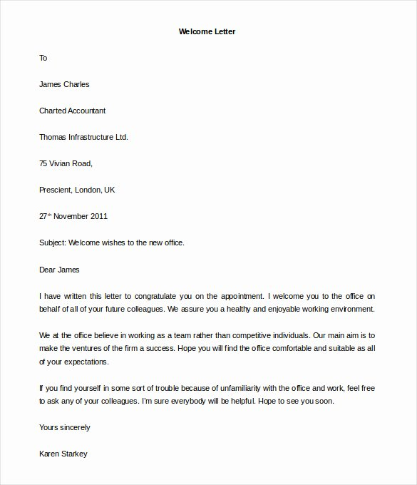 Letter to Shareholders Template Awesome Free 6 Printable New Employee Wel E Letter Template Fice Download