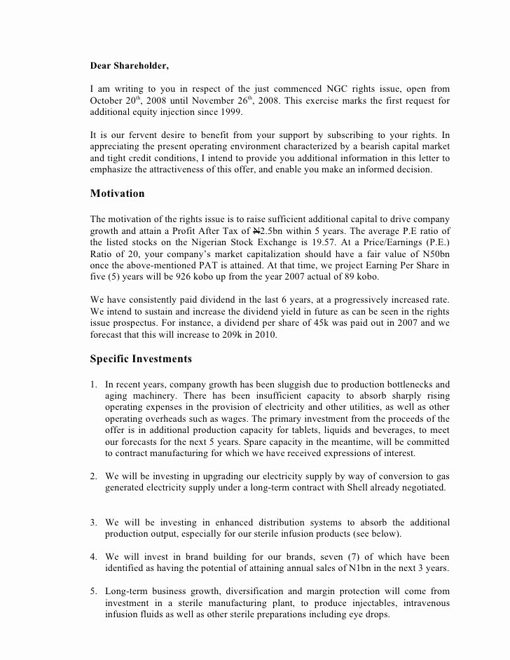 Letter to Shareholders Template New Letter to Holders