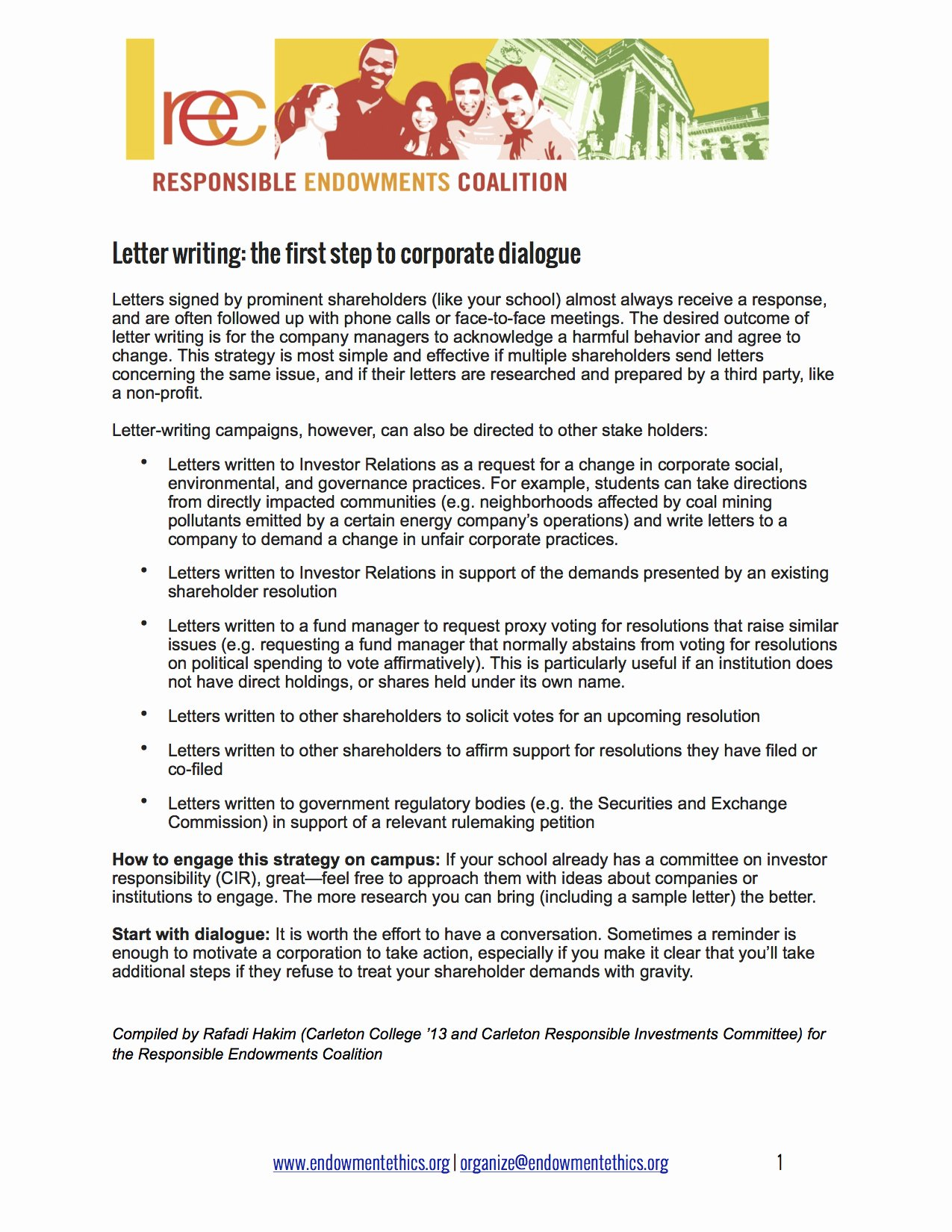 Letter to Shareholders Template New Mittees Resources Responsible Endowments Coalition