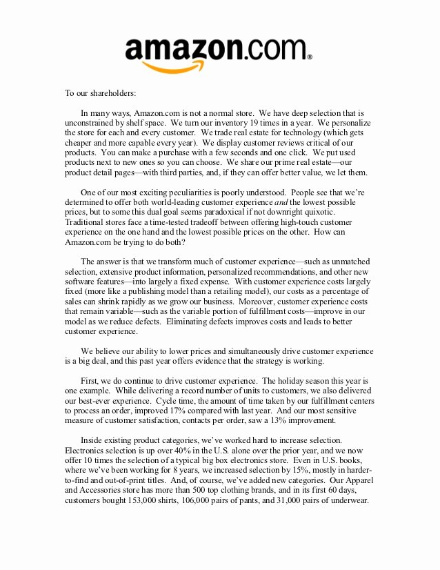 Letter to Shareholders Template Unique Amazon Shareholder Letters 1997 2011