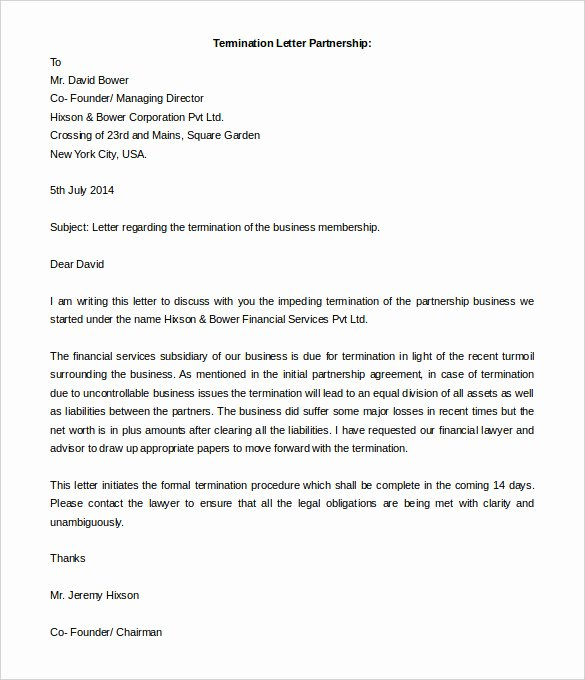 Letter to Terminate Business Relationship Beautiful 5 Partnership Termination Letters Free Word Pdf