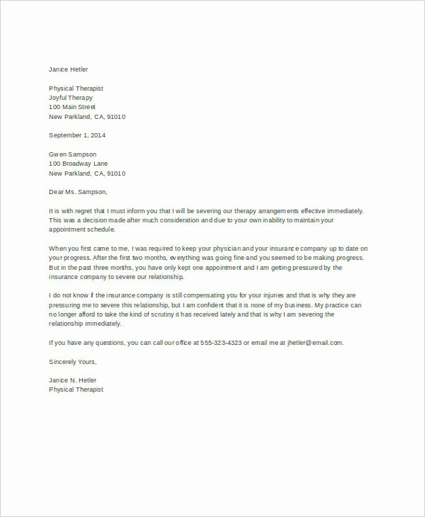 Letter to Terminate Business Relationship Best Of Letter Of Termination Template 8 Free Word Pdf