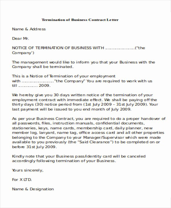 Letter to Terminate Business Relationship Elegant 7 Sample Termination Of Business Letters Pdf Word