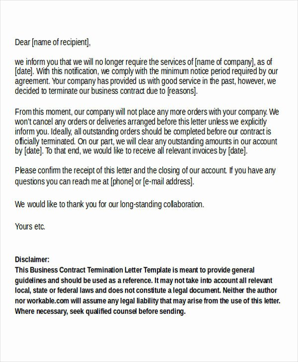 Letter to Terminate Business Relationship Elegant Termination Letter format