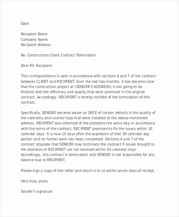 Letter to Terminate Business Relationship Inspirational Free 60 Termination Letter Examples & Samples In Pdf